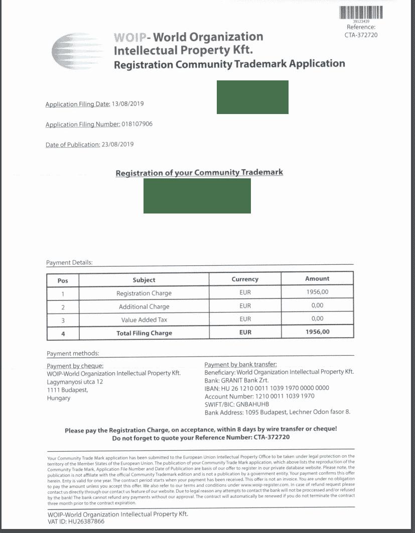 EUIPO trademark application follows fraudulent payment requests 2